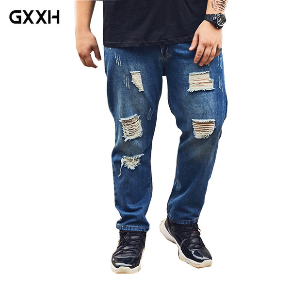 2018 Summer New Large size Loose Nine Points Hole jeans Extra Large XXL-6XL 7XL 8XL Thin section jeans Stretch Casual Blue