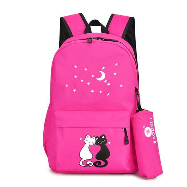 Cute Cats School Mochila para niñas con Bolso de la pluma High Quality Canvas Bookbag Moon Stars Decorated Pink Mujeres Bagback con cremallera