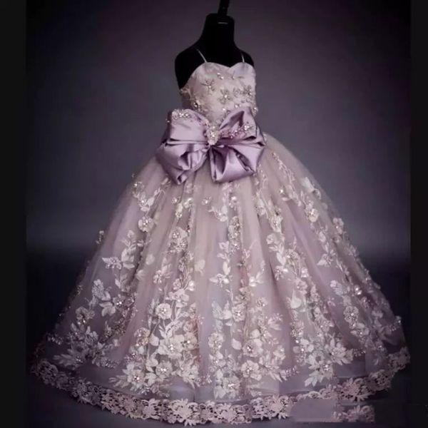 Compre Cuadros Reales Vestidos Para Niñas De Flores Encaje Apliques Perlas Arco Espaguetis Princesa Niños Vestidos De Baile Primera Comunión Vestido