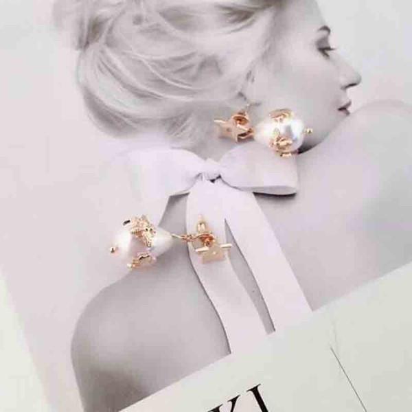New Luxury Waterdrop Pearl Dangle Earrings Champaign Gold Letters Bee Earring 925 Silver Needle Ear Studs For Women Wedding Party Jewelry