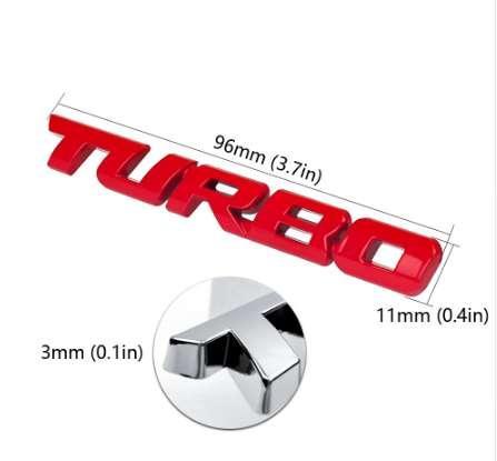 3D Chrome Metal TURBO Letter Emblem Badge sticker Car Styling Refitting Fender Trunk Mark for BMW Audi VW Black Red Silver