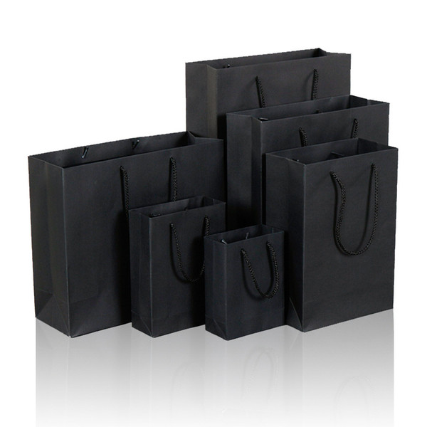 10 Size Black Paper Gift Bag With Handle Wedding Birthday Party Gift Christmas New Year Shopping Package Bags LZ1338