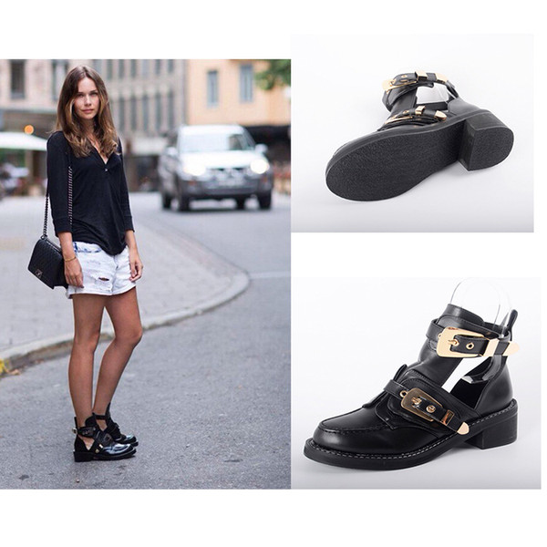 Fashion punk wind patent leather belt buckle hollow out cool boots popular style knight boots female heel hight 6cm size 35-41