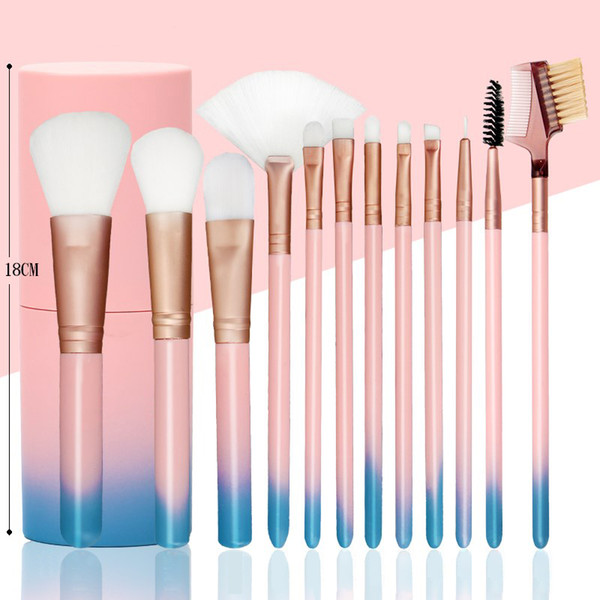 TOP 12 pcs Professional Women Eye Face Makeup Brushes Soft Brush Set Foundation Powder Brush Make Up Tool with cylinder Box Free Shipping