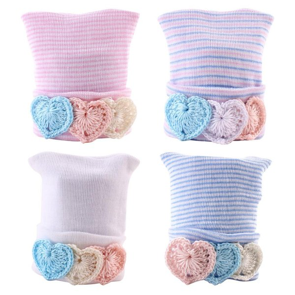 0-6M Newborn Baby Hats Infant Kids Soft Stripe Cotton Caps Beanie Heart Shape Decor Unisex Baby Hair Accessories Winter Ear Warmer BH23