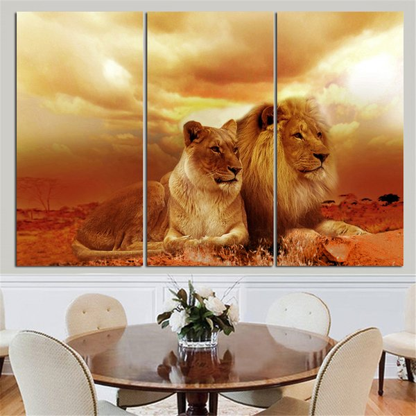 Wall Art Canvas 3 Pieces Sunset King Of The Forest Lions Paintings HD Prints Pictures Framework Home Decor Living Room Posters