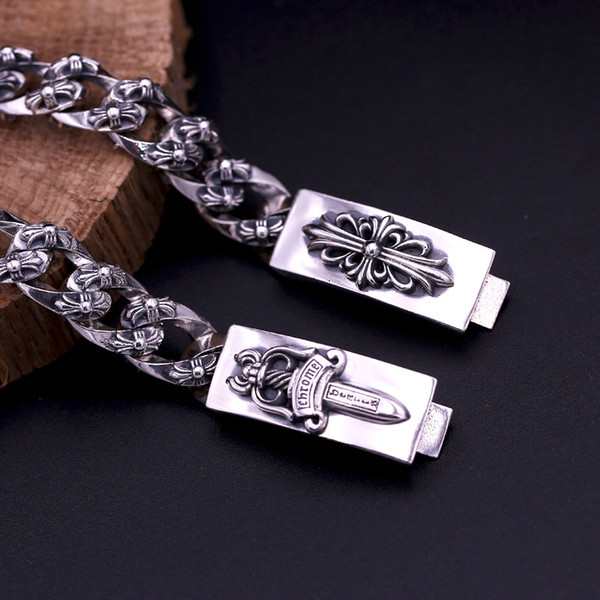 2018 new 925 sterling silver vintage jewelry luxury American brand antique silver hand-made designer thick links crosses mens bracelets hot