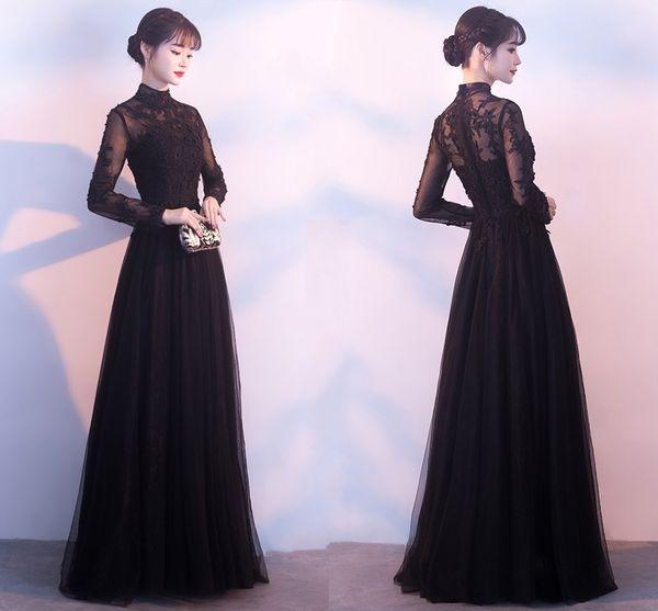 Vestiti da sera lunghi neri nuovi di alta qualità vestiti fatti a mano della sfera della perla di inverno della perla della decalcomania handmade Abiti da promenade di dimensione più