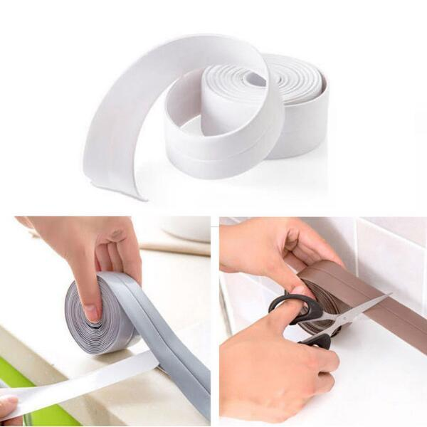 PVC Material Home Kitchen Bathroom Wall Sealing Tape Stickers Waterproof Mold Proof Wall Stickers 3.2mx3.8cm CCA9860 50pcs