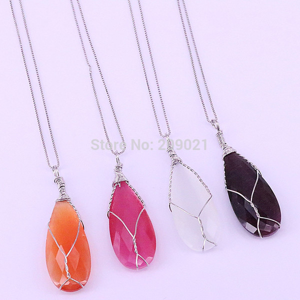 6Pcs Mix color cat eye stone drop Gems pendant necklace For Women Girls Jewerly