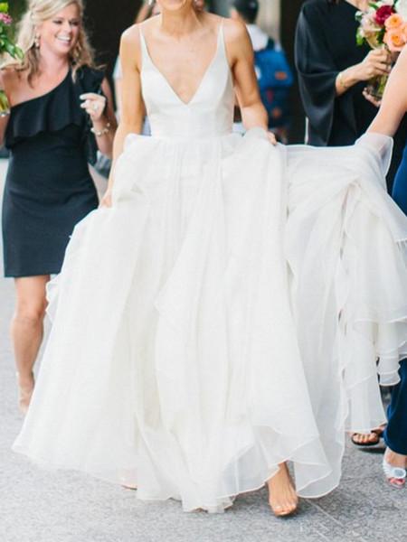 Modest Sexy Backless Summer Beach Wedding Dress Simple Spaghetti Strap Plunging V-Neckline Satin Chiffon Bridal Gown Custom Made