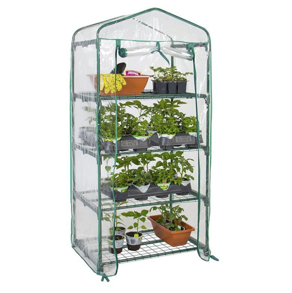 "top popular 4 Tier Mini Green House 4 Shelves Green house Portable Mini Outdoor Green House 27"" x 18"" x 63"" 2021"