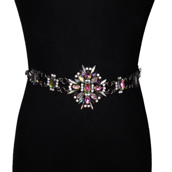 New design metal chain Color rhinestone belts Women's big crystal Chain Belt bride wide Bling Female Hollow Waist Belt accessory