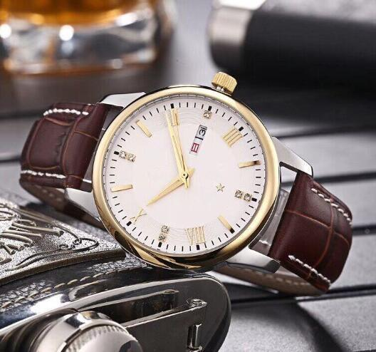 2018 Men's High Qual Casual Mechanical Watch, Golden Three-Pin Series Automatic Stainless Steel Watch, Waterproof Light Brown Leather