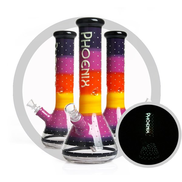 Hot sale 12 inch colorful glass beaker bong 7mm thick glass smoking water pipe hookah shisha ice catcher bong luminuos uv glass bongs
