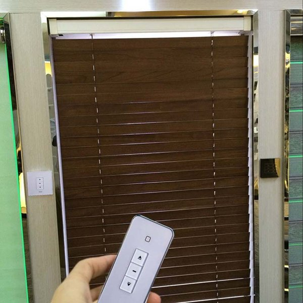 Motorized wooden venetian blinds, size customized,free shipping,electric wooden blinds,wifi control acceptable
