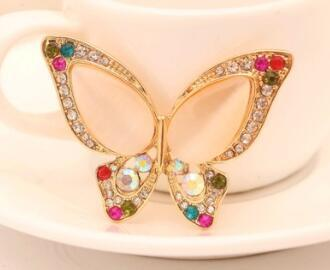 United States Cute men girl diamond butterfly Brooch brooches rhinestone Clothing accessories Pins Party Prom Women pin Free shipping 44