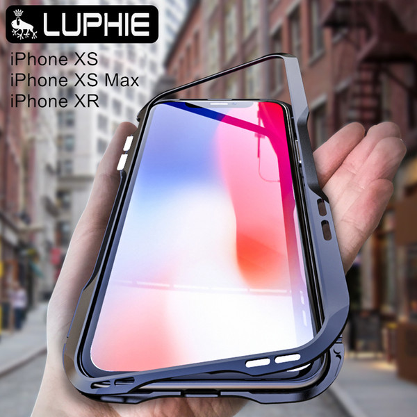 wholesale magnetic adsorption metal bumper With back glass For iphone xs max protective cover For iphone xr Aluminium Frame Armor