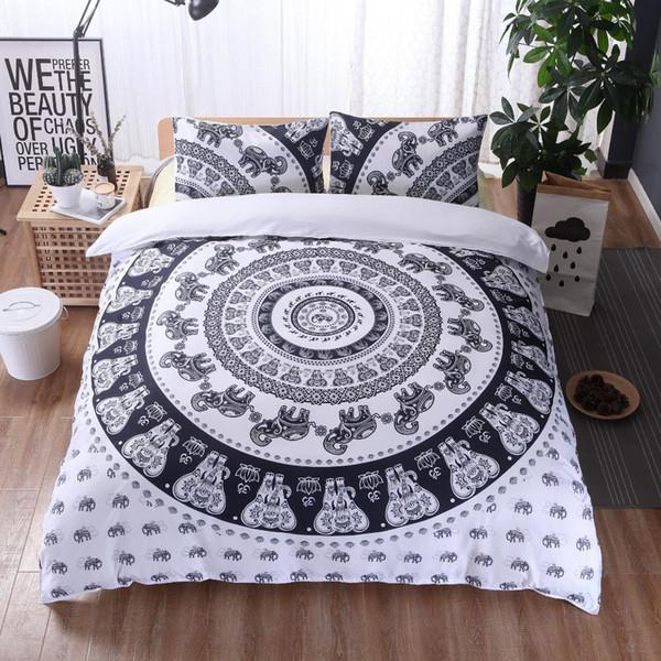 3d Bedding Set King Size Elephant Print Duvet Cover Set Mandala Pattern White Black Bedspread Bed Home Decor Free Shipping