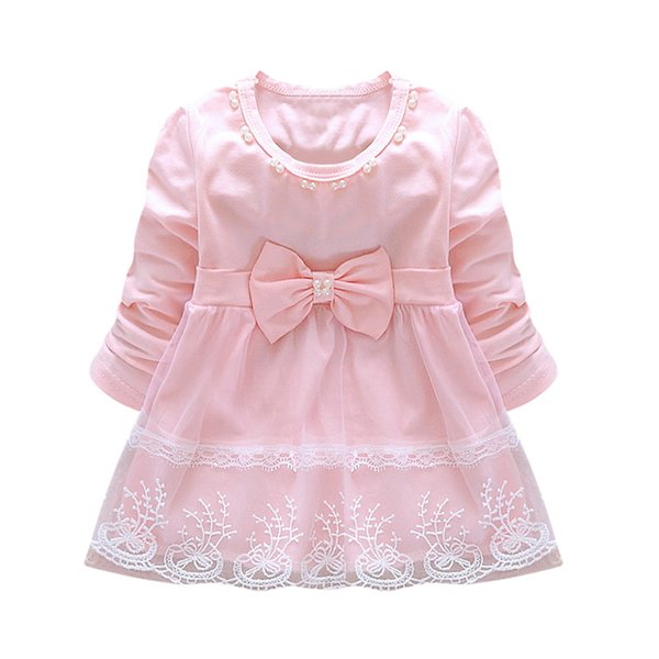 Fashion Autumn Long Sleeve lace Bow cute baby Party Birthday girls kids Children dresses princess infant Dress