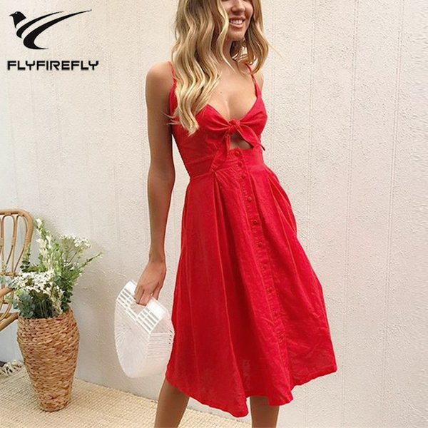 0a5769b63c Summer Dress Women Sexy Bow Backless Sleeveless Boho Floral Print Beach Dress  2018 Deep V Neck