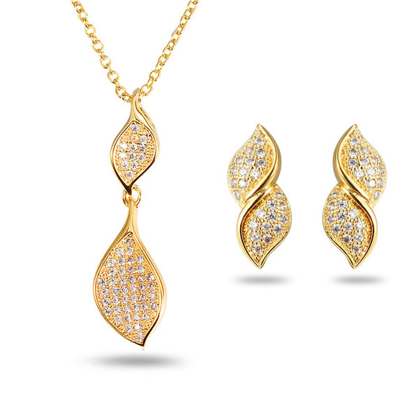 The jewelry wholesale manufacturers selling 18 karat gold jewelry pendant earrings suit European fashion