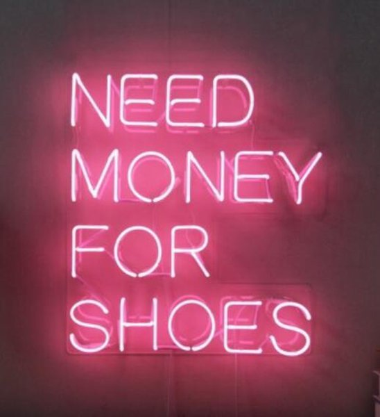 """Pink Need Money For Shoes Neon Sign Handmade Custom Real Glass Tube Home Decoration Bedroom Window Art Gift Display Neon Signs 15""""X19"""""""