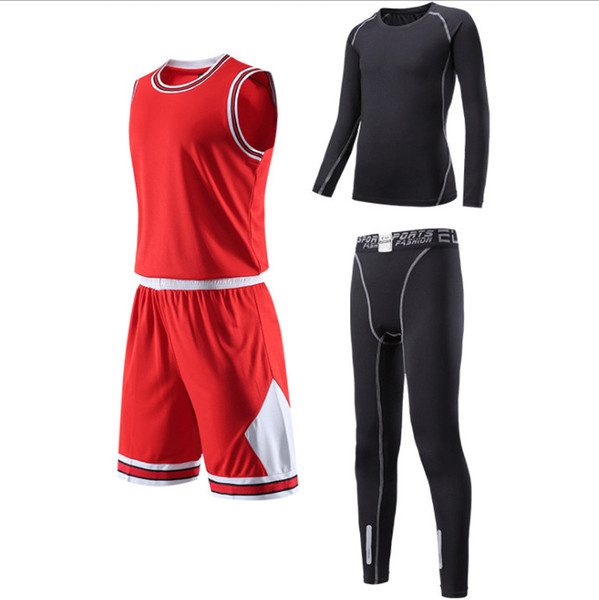 c8df4419a3 Autumn winter children adult Custom basketball suit sports suit long sleeve  tights four-piece student