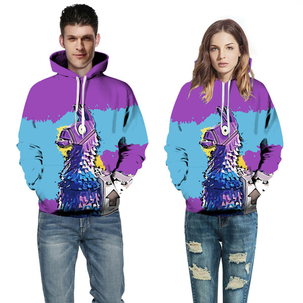 2018 European and American Couple Wear Sweater Horse 3D Digital Printing Hat Baseball Suit Autumn Winter Wear A0370