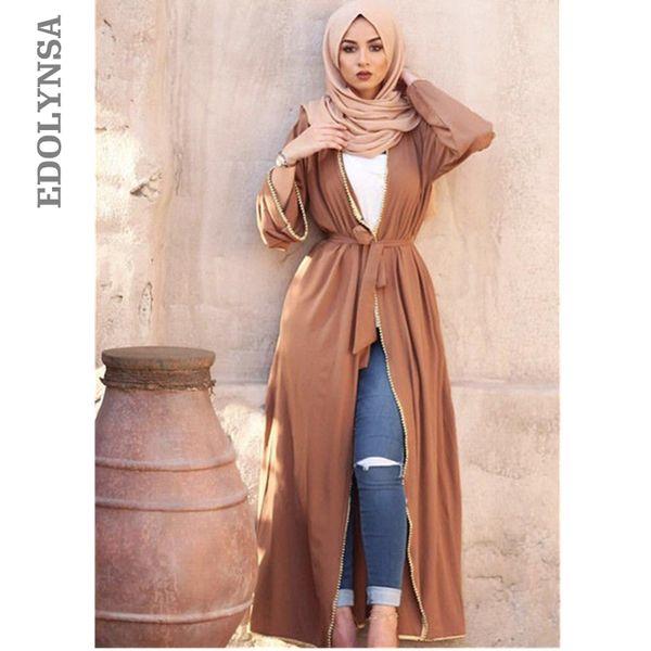 Elegante Adulto Muçulmano Abaya Árabe Turco Sólida Beading Cardigan Apliques Jilbab Dubai Abaya Mulheres Vestidos Vestuário Islâmico D610