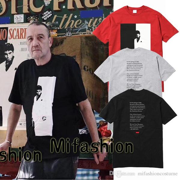 772c3301e93d3 Europa Moda de Alta Qualidade 17FW Scarface Dividir Tee Verão Caixa  logotipo Skate T-shirt
