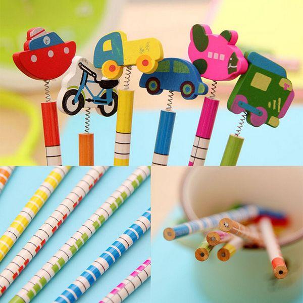 Fashion Design Hot Sell Handmade Wooden Pencil Cartoon Pencils Creative Trend Stationery Children Student Pencil 6 Pcs/Pack