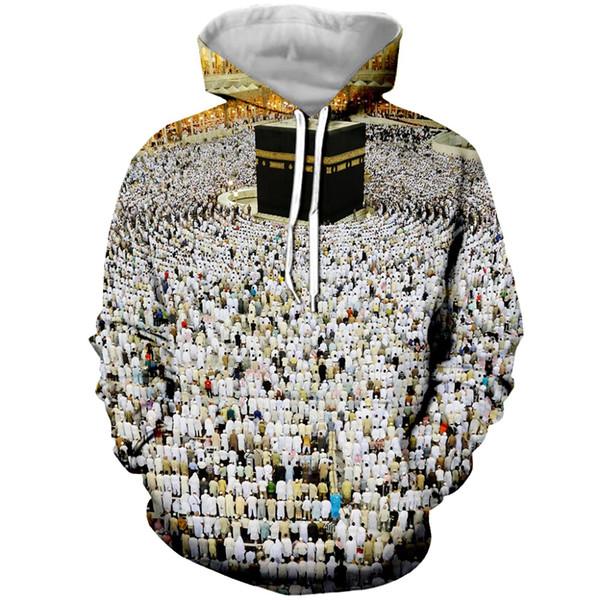 Großhandels3d moslemischer Pilgerfahrt gedruckter Hoodie für Frauen-Mann-Art- und Weisezipper Hoodies / Sweatshirt / T-Stücke Unisexkleidung
