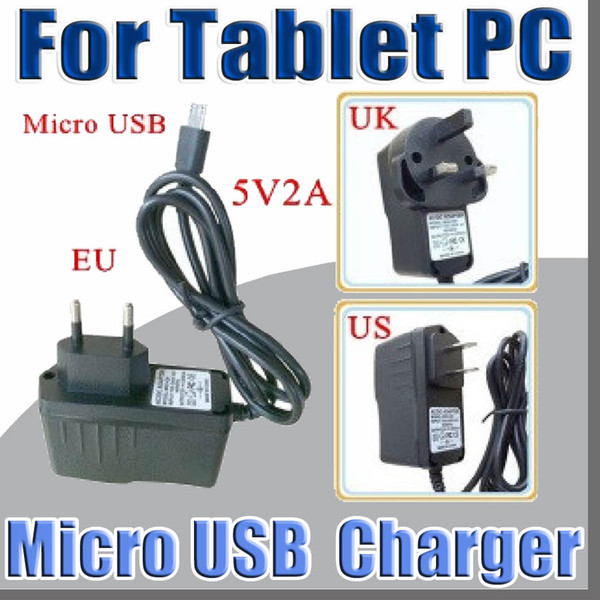 Micro USB 5V 2A Convertitore di corrente Convertitore di corrente US EU UK plug AC Per 7