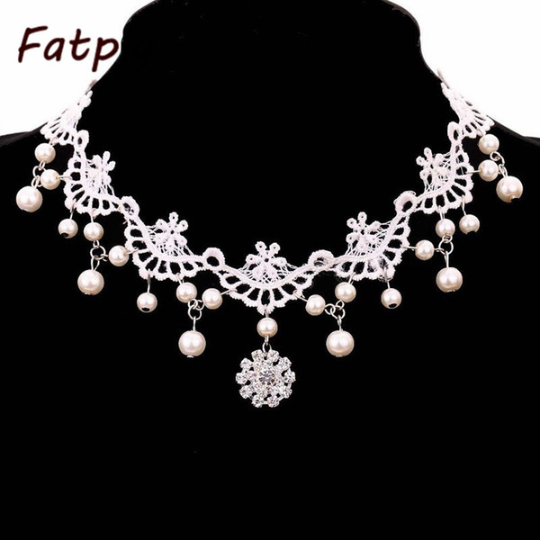1pcs White Lace and Beads Choker Victorian Steampunk Style Gothic Collar Necklace Gift
