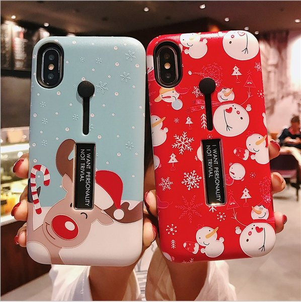 Christmas design Cell Phone Cases Silica gel Phone Covers shockproof and waterproof case for iphone XS Max for iPhoneXs with Kickstand