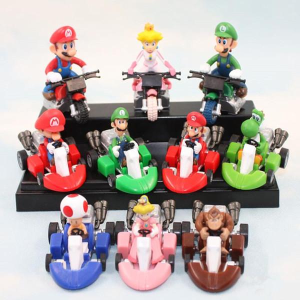 10pcs/set Wholesale Super Mario Action Figure PVC Toys Cute Kart Pull Back Car Model Dolls For Kids Best Gift DHL