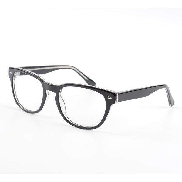 Mode Acetat Männer Brillengestell 100% Handarbeit Männer Brillen Rahmen Vintage Runde Klare Linse Gläser mit Niet Big Face