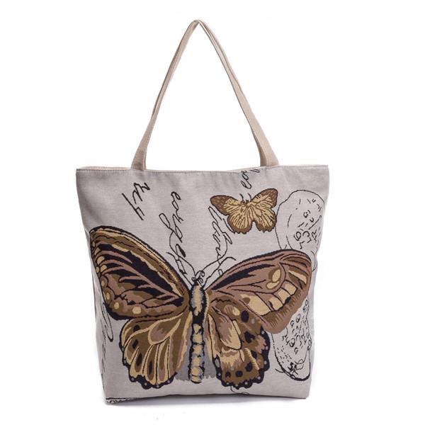 حقائب النساء أزياء ريترو عادية قماش الفراشة مطبوعة حقائب التسوق أنثى واحدة حقائب الكتف الحقيبة السيدات المراهنات