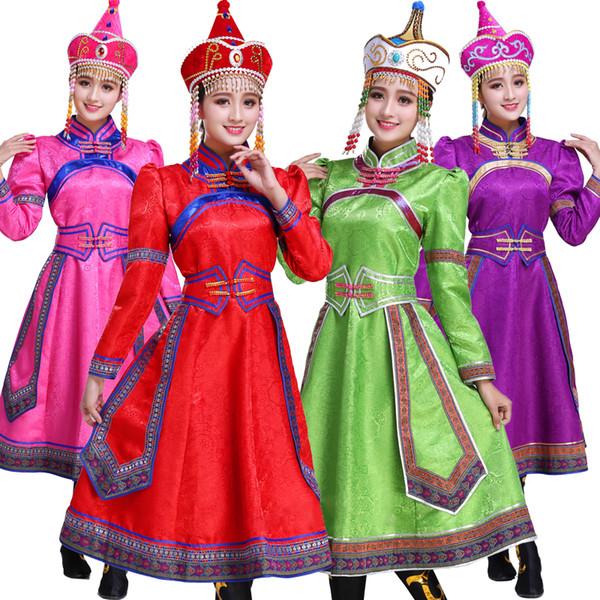 Nuovo vestito femminile big swing mongolo abiti da ballo tibetano abbigliamento nazionale costumi di spettacolo per cantanti carnevale fantasia usura
