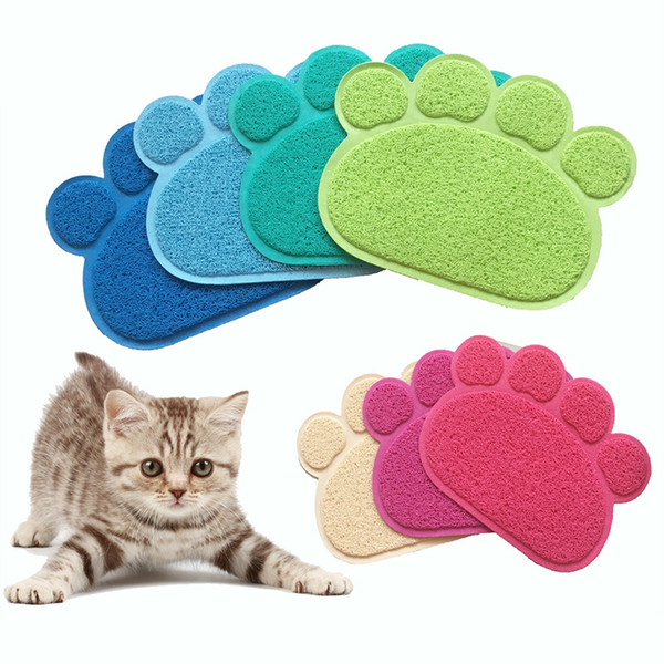 Pet Dog Puppy Cat Feeding Mat Pad Cute Paw PVC Bed Dish Bowl Food Water Feed Placemat Wipe Easy Clean Pet Cat Dog Accessories