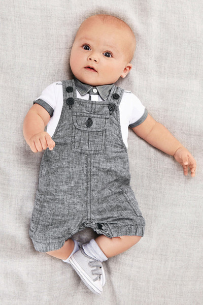 Cute Preppy Style Boy Clothes Two Pieces Jacket And Suspenders Kids Clothing School Uniform Short Sleeve For Boys Hot Sale