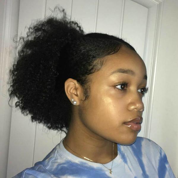 100% puff Afro Kinky Curly Human Hair Ponytail For Black Women Brazilian Virgin Hair Drawstring Ponytail Hair Extensions 10-20 inch 120g