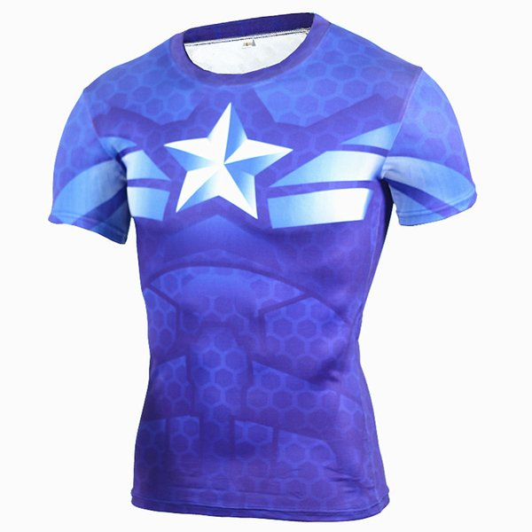 New Fitness Compression Shirt Men Anime Superhero Punisher Skull Captain Americ 3D T Shirt Bodybuilding Crossfit T Shirt