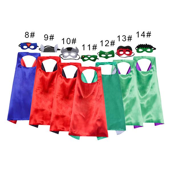 28 Arten Schicht 70 * 70CM Superheld Umhänge und Schablone stellten Superhero Cosplay Capes + Schablone Halloween-Kapmaske für Kinder 20pcs ein