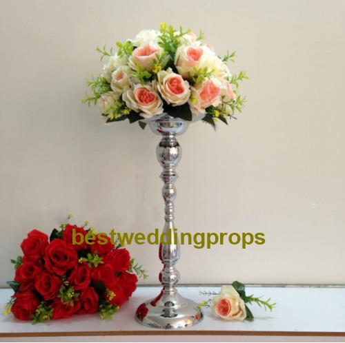 Classic silver finish table flower vase wedding event or party road lead home decor flower rack metal candlestick best0219