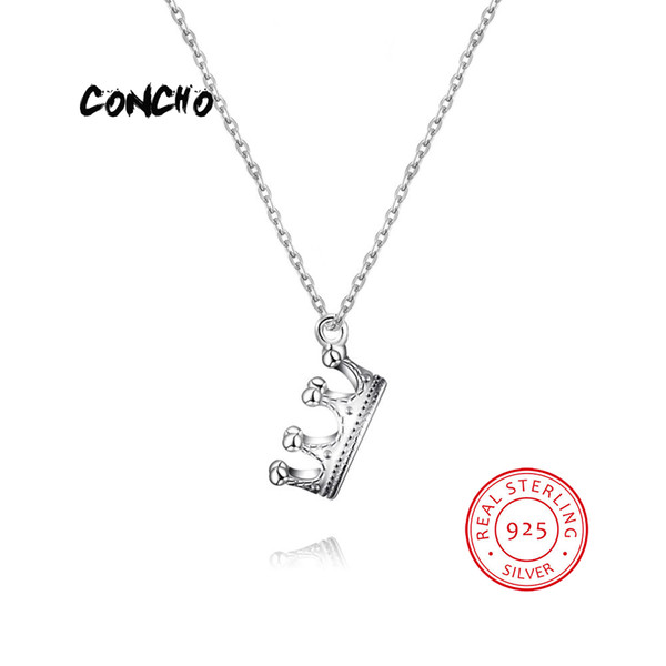 2019 Concho Jewelry 925 Sterling Silver Crown Shape Necklace For Women Wedding Beautiful Gift 2018 Pendant From Lbdwatches