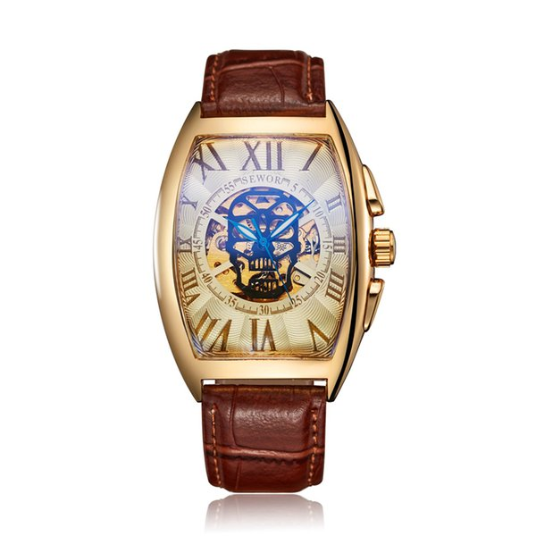 SEWOR Luxury Mens Mechanical Wrist Watches Leather Automatico Self-Wind Mechanical Wristwatches Men Skeleton Automatic Watches SWQ55