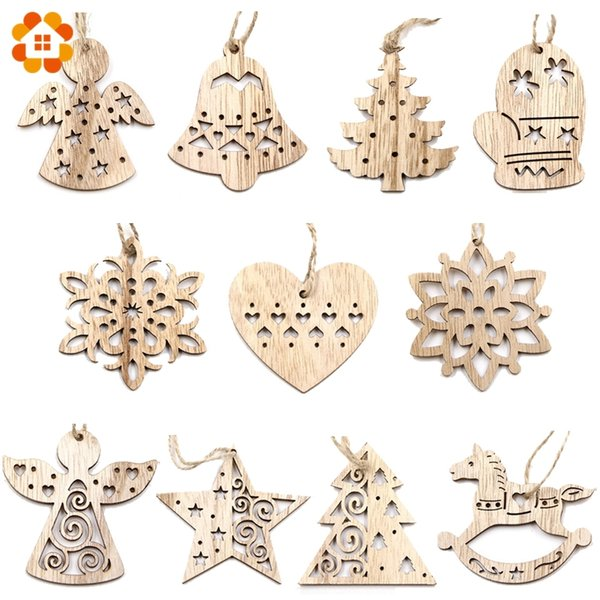 10PCS Lovely Vintage Christmas Wooden Pendant Ornaments DIY Wood Crafts Kids Gift Xmas Tree Ornament Christmas Party Decorations Y18102609