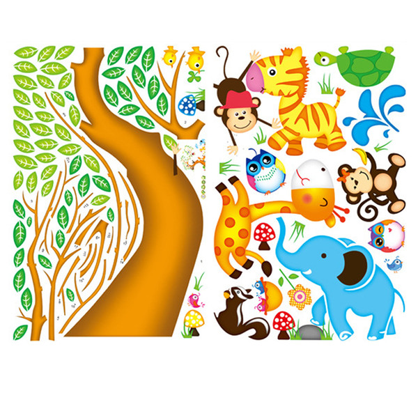 Free shipping Monkey Owl Animals Tree Cartoon Vinyl Wall stickers for kids rooms Home decor DIY Child Wallpaper Art Decals House Decoration